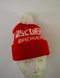 6c86a76a4f1a12 Vintage WISCONSIN BADGERS winter hat with Pom bucky badger uw madison