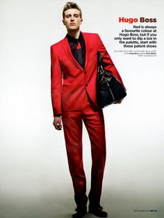 Red Hugo Boss suit.