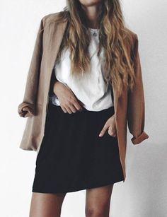Basic neutrals, beige blazer, black high waist skirt
