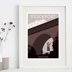 Manchester Art Prints - Stockport: a taste of honey - Unique Art from Manchester Artists Manchester Art, All Print, Unique Art, Digital Illustration, Artist, Artwork, Prints, Poster, Design Ideas