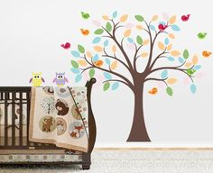Nursery Tree Decal (Birds, Owls and Colorful Leaves) Wall Decal Source http://www.amazon.com/dp/B00CZFICYO/ref=cm_sw_r_pi_dp_PnF6ub1NYDJ3R