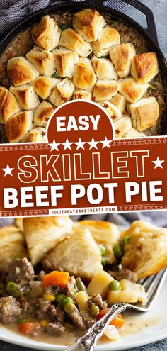 This easy Father's Day dinner is the ultimate comfort food in one skillet! This main dish can be on your table in 35 minutes. Filled with mixed vegetables in homemade gravy, this ground beef pot pie recipe with biscuits is sure to be a hit with the entire family! Entree Recipes, Beef Recipes, Skillet Recipes, Dinner Recipes, Skillet Meals, Fish Recipes, Recipies, Good Healthy Recipes, Yummy Recipes