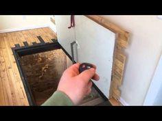 Guy uses a homemade remote controlled door opener to open his secret hidden basement door Basement Entrance, Basement Stairs, Basement Ceilings, Basement Ideas, Hidden Spaces, Hidden Rooms, Crawl Space Door, Hatch Door, Hidden Hinges