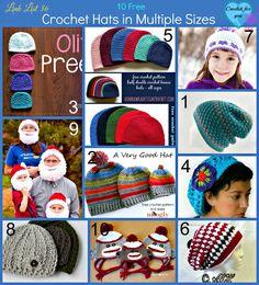 Link List 36: 10 Free Crochet Hats in Multiple Sizes - Crochet For You