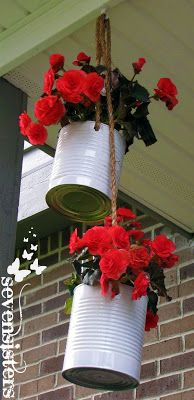 DIY Hanging Planter...gonna do this around patio with all the big cans I have