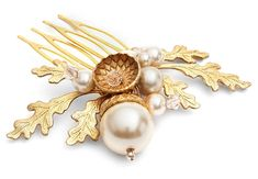 petworth gold acorn and pearl hair comb by cherished   notonthehighstreet.com
