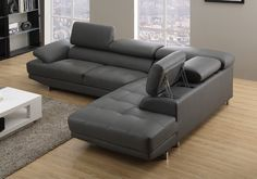 VENTURA Right/Hand Grey Leather Corner Sofas