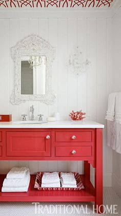 Beautiful color red vanity