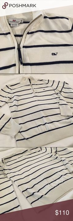 [VV] quarter zip sweater white w navy stripes EUC white cotton sweater with stretch so it is comfortable to put on and be active while wearing. Nautical theme with the navy blue stripe. Can be dressed up or down. Vineyard Vines Tops Sweatshirts & Hoodies