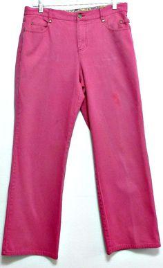 Liz Claiborne Ladies Bright Pink Woven Cotton Petite Pants - Size 10 P #LizClaiborne #Jeans