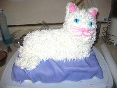 Converted the lamb cake mold into a cat.  I added a 9x13 on the bottom covered in fondant to look like a bed so the cake would feed more people.