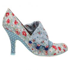 It's spring! And you could upcycle a pair of heels into a version of these beauties from Irregular Choice. Do fabric collage (see http://glittersweatshop.typepad.com/sassy_feet_blog/2009/03/fabric-collage-on-shoes.html) and add a flab to fold over the top and appear to button at the side. What about using highly contrasting material, too?