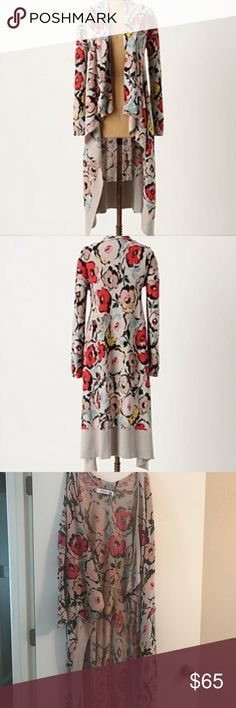 Anthropologie • Floral Duster Anthropologie • Floral Duster • very good condition • size L sparrow Sweaters