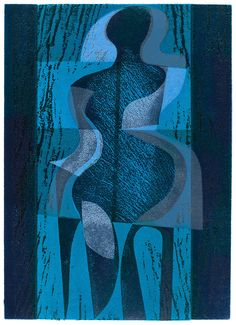 'Night Dancer' woodcut and stencil print by Peter Green OBE… Stencil Printing, Screen Printing, Linocut Prints, Art Prints, Wood Engraving, Woodblock Print, Traditional Art, Light In The Dark, Illustration Art