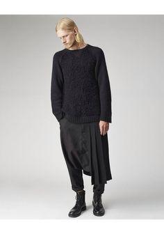 chromet: Yohji Yamamoto pleated adjustable kilt, Yohji Yamamoto raglan sleeve pullover, Comme des Garçons shirt and Common Project combat boots