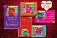 Indian Wedding Invitation Set Boho Auto by TheIndianPaperForest