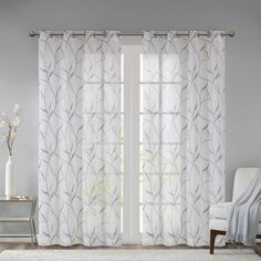 Shop for Madison Park Dawn Leaf Embroidered Sheer Single Curtain Panel. Get free delivery On EVERYTHING* Overstock - Your Online Home Decor Outlet Store! Window Sheers, Sheer Curtain Panels, Sheer Curtains, Panel Curtains, Curtains Living, Wood Valance, Elegant Curtains, Curtain Styles, Curtain Ideas