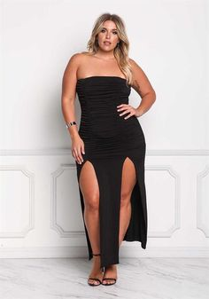 Plus Size Clothing Plus Size Strapless Ruched Slit Maxi Dress Debshops Plus Size Dresses, Plus Size Outfits, Xl Mode, Plus Size Womens Clothing, Size Clothing, Plus Zise, Plus Size Fashion Tips, Full Figure Fashion, Full Figure Style