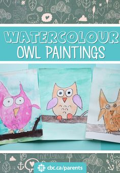 These sweet little owl watercolour paintings are simple, beautiful and fun to do together.