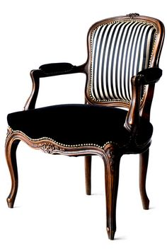 STRIPE & BLACK ARM CHAIR FRANCE ANTIQUE CUSTOMIZE