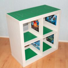 Expedit turned into Lego play station - except use 2 1x5 and create a flat top to glue the lego boards to