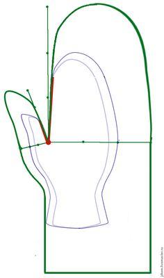 Как построить выкройку варежки для валяния