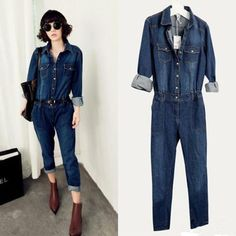Chic-New-Womens-jeans-jumpsuit-Vintage-Denim-Fashion-Belted-overalls-long-pants