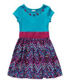 Loving this Magenta & Aqua Floral Metallic-Waistband Dress - Girls on #zulily! #zulilyfinds