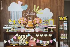 You are My Sunshine Party + Decorations Ideas.These party ideas for a You are my sunshine birthday party make celebrating your little one easy and adorable. Happy Birthday B, Sunshine Birthday Parties, Baby Birthday, 1st Birthday Parties, Cloud Party, Girls Party, Unicorn Party, Baby Shower Themes, Birthday Decorations