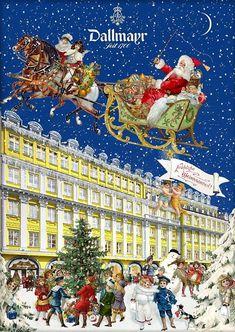 Behr, Noel Christmas, Winter Art, Dance, Poster, Santa Sleigh, Illustration, Painting, Traditional