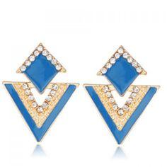 Pair of Graceful Glaze Rhinestone Triangle Earrings For Women #shoes, #jewelry, #women, #men, #hats