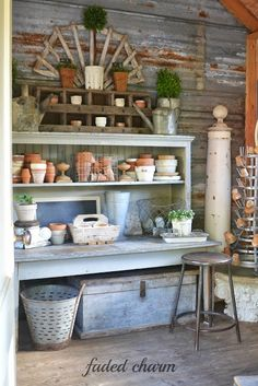 Potting bench - perfect for puttering ......... Faded Charm