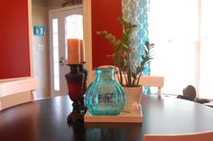 Turquoise & red dining room