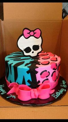 Monster High Blue Zebra And Pink Cheetah Print Cake