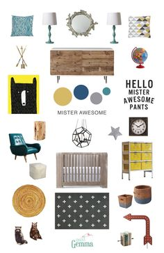 Why Hello Mr. This turquoise blue, gray and yellow nursery inspiration board balances woodsy elements with modern lines and whimsical art from the Sweet Gemma art collection. Aztec Nursery, Yellow Nursery, Nursery Neutral, Girl Nursery, Modern Nurseries, Nursery Modern, Baby Boy Nurseries, Woodland Creatures Nursery, Blue Yellow