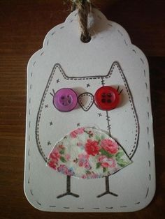 Shabby chic owl tags