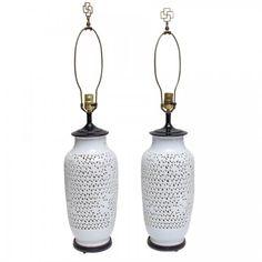 Pair Blanc De Chine White Porcelain Lamps