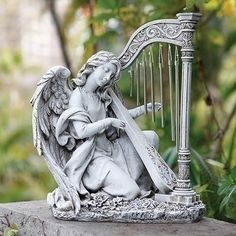 """Angel Playing Harp Figure For Garden Patio or Memorial 15"""" Tall Songs Of Praise The Angels Sang Songs of praise the angels sang, heaven with alleluias rang, whe"""