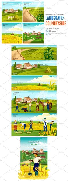 Countryside Landscape, Banner Template, How To Draw Hands, Layout, Templates, Nature, Stencils, Naturaleza, Page Layout
