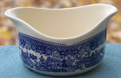 Blue Willow Gravy or Sauce Boat with Double Spout: Removed