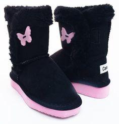 4cea1875900 Black Pink Butterfly Beige Shearling Vegan Fleece Ankle Bootie Girls  #kidsboots #kidsshoes #cuteshoes