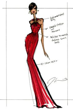 A sketch of Michelle Obama's @Jason Wu gown #CFDAMember