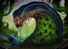 Putrid Leeches stalk prey silent and sluggish, then lunge into a full-body tackle. They then smother and squeeze while their multiple mouths set to work, leaving only dry bones behind. Monster Art, Fantasy Monster, Monster Design, Alien Concept Art, Creature Concept Art, Alien Creatures, Fantasy Creatures, Creature Feature, Creature Design