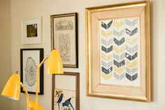 pretty potato stamp art (the chevron piece in yellow and gray.) beautiful color palette too!
