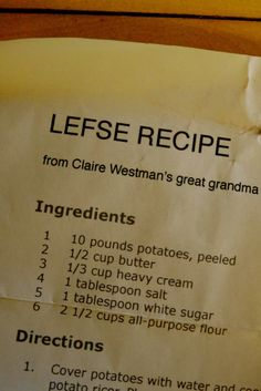 Griggs Dakota: Recipe: Grandma Esther's Lefse Recipe Read Recipe by blizlady Old Recipes, Vintage Recipes, Gourmet Recipes, Cooking Recipes, Cooking Tips, Barbecue Recipes, Healthy Recipes, Norwegian Cuisine, Norwegian Food