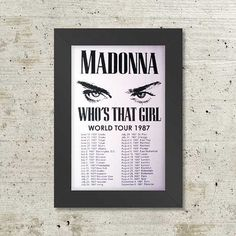Madonna Who's That Girl World Tour 1987 Framed by Innerwallz, $29.95