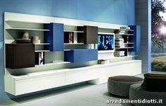Soggiorno Light System con mensole sottili - DIOTTI A&F Arredamenti