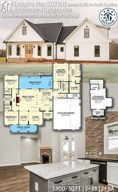 Architectural Designs Exclusive Farmhouse Plan client-built by our friends Tanner Built Homes in North Carolina!