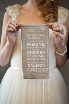 Menu is Printed on the Napkin - so cool! On SMP |   Photography: Archetype Studio Inc. | See more: http://stylemepretty.com/2013/03/22/industrial-romance-photo-shoot-from-archetype-studio-inc/