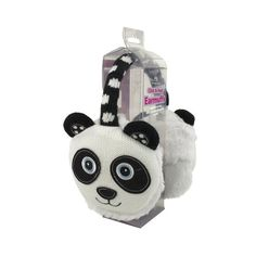 A fantastic innovation, these cozy ears panda ear muffs are no ordinary ear warmers! The outer knitted animal has a super soft plush furry inner fabric with pockets with a reusable & removable click to heat gel pad tucked inside. They work in the same way as gel hand warmers, but can be easily removed. The head band is adjustable, so each muff fits snugly against your ear to keep out chilly winter winds. #panda #pandabear #earmuffs #girlsgifts #noveltygifts #giftideas